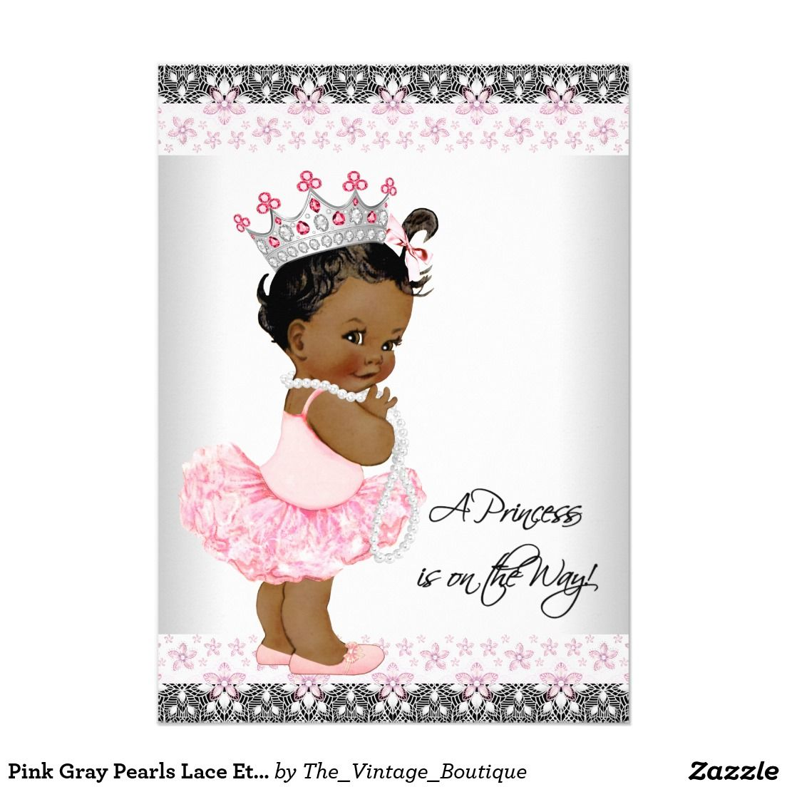 Pink Gray Pearls Lace Ethnic Baby Girl Shower Invitation | Pinterest ...