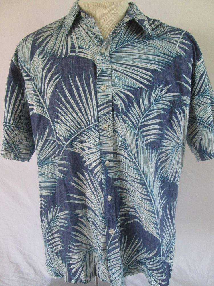 Tori Richard Hawaiian Shirt Multi-Color Palm Tree Shirt Reverse Print Cotton XL #ToriRichard #Hawaiian