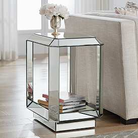Hillary 21 Wide Open Shelf Mirror End Table By Studio 55d In 2020 Mirrored End Table Table Decor Living Room Mirrored Furniture