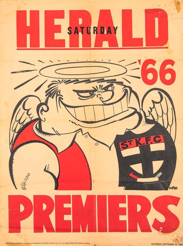 St Kilda 1966 Original Weg Poster Saints Football Afl Premiership Football Team Logos