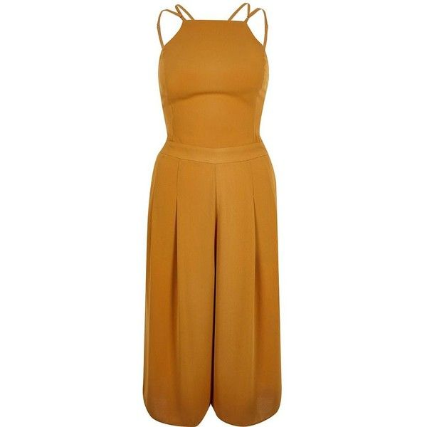 River Island Dark Yellow Strappy Cropped Jumpsuit 90 Liked On