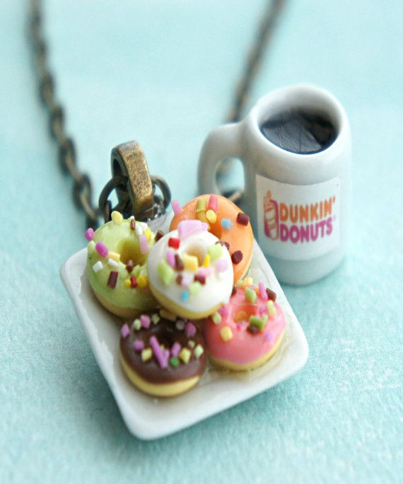 Donut Plate And Coffee Necklace Miniature Food Jewelry Etsy Miniature Food Clay Food Cute Polymer Clay