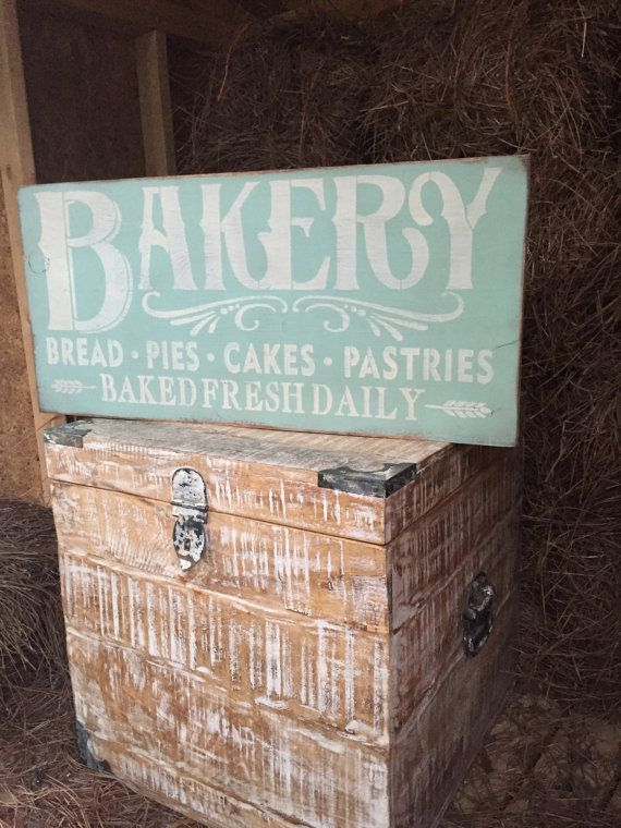 Bakery Baked Fresh Daily Kitchen Decor Green Wood Sign Rustic