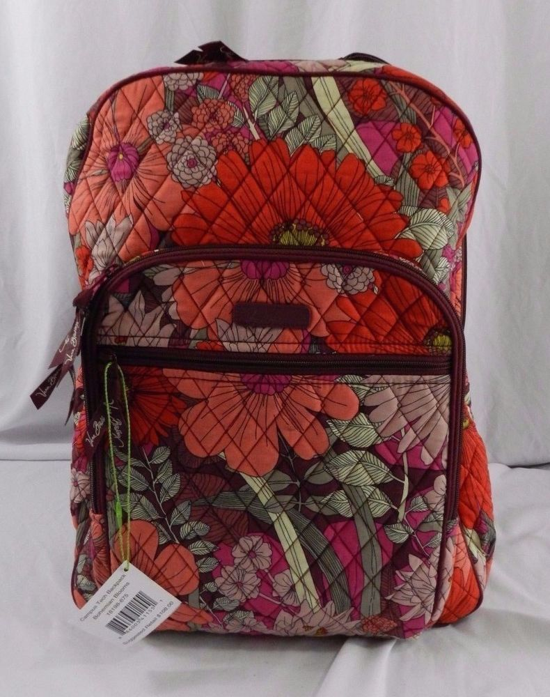 3d4f3226d4 New Vera Bradley Bohemian Blooms Campus Tech School Laptop Backpack Floral  Pink  VeraBradley  BackpackStyle