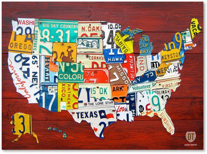 Design Turnpike \'License Plate Map Usa\' 24 x 32 Canvas Art ...