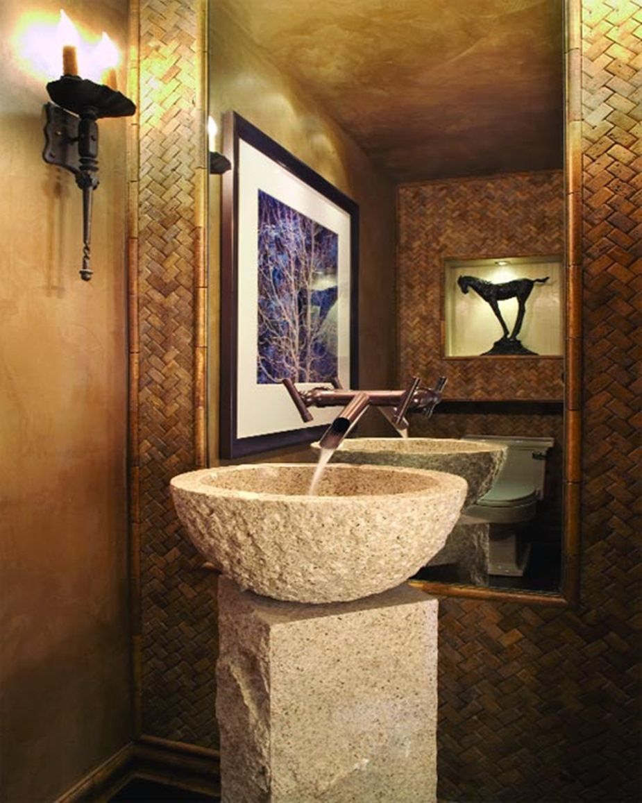 Rustic Cottage Stylish Powder Room Vanities Design Ideas Natural Stone Pedestal Sinks With Modern Powder Rooms Powder Room Decor Modern Bathroom Sink