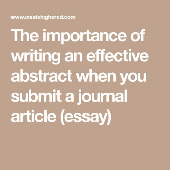 The importance of writing an effective abstract when you submit a