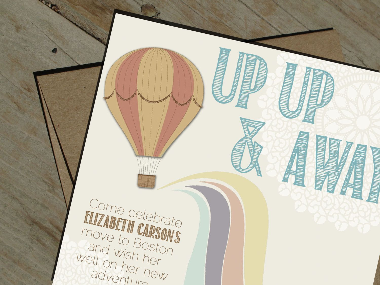 Hot Air Balloon Going Away Party Invitation Printable  Via