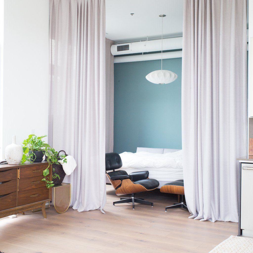 Canvas cotton blend cross weave curtains warm gray basement