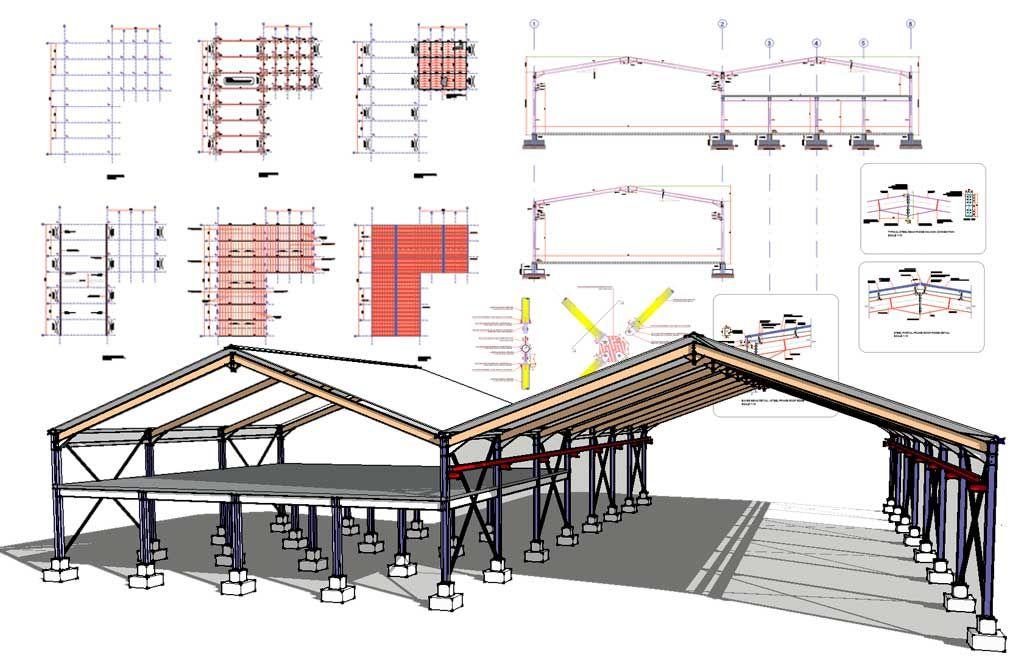 Steel Frame Hangar Complete Design Drawings Steel Trusses Steel Columns Steel Bed Design