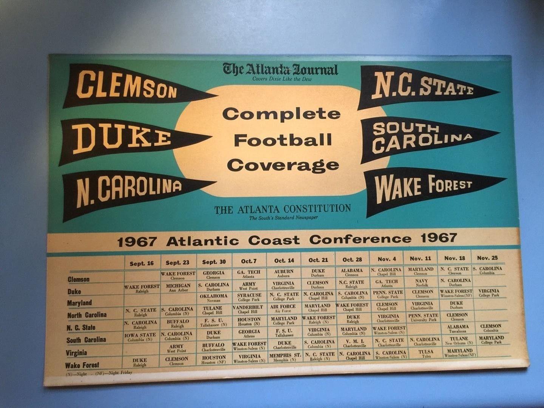Original 1967 Acc Football Schedule Sign Clemson Duke Unc Wake Ncsu Sc Wow 1816918121 Duke Unc Football Clemson
