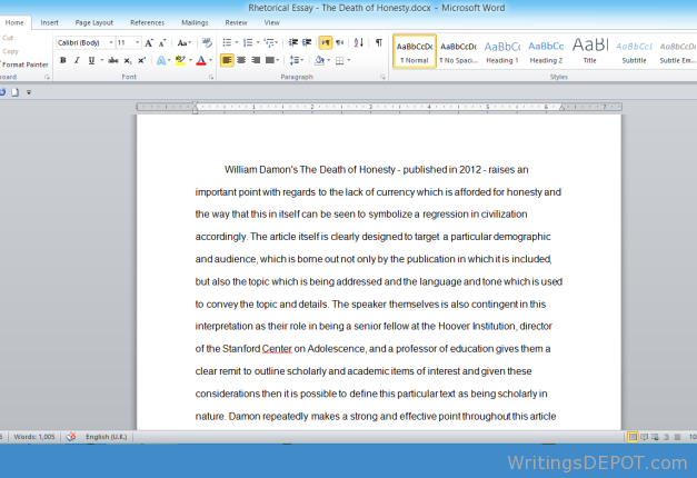 Rhetorical Essay Analysi 1000 Word Analysis Pages Page