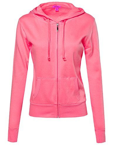 Basic Lightweight Zipper Drawstring Hoodie Jacket Neon Pink Size S *** You can find out more details at the link of the image.Note:It is affiliate link to Amazon.
