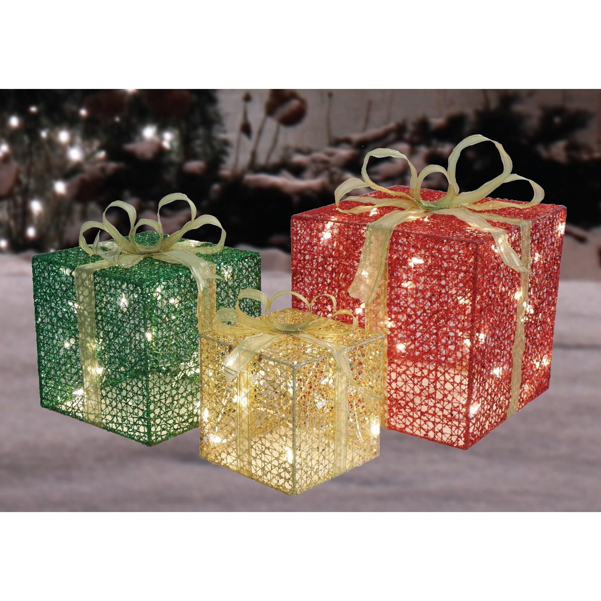 Northlight Set of 3 Red and Green Gift Box Lighted Christmas