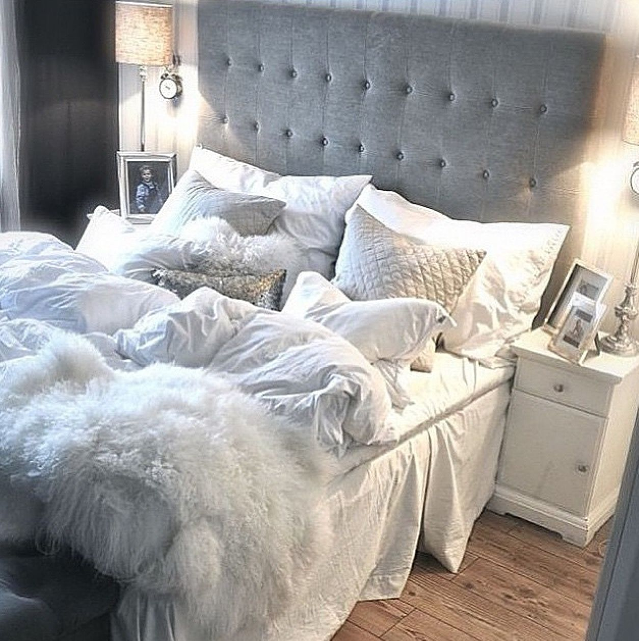 Tumblr Bed Ideas Bedroom Decor Button Back Headboard White Grey