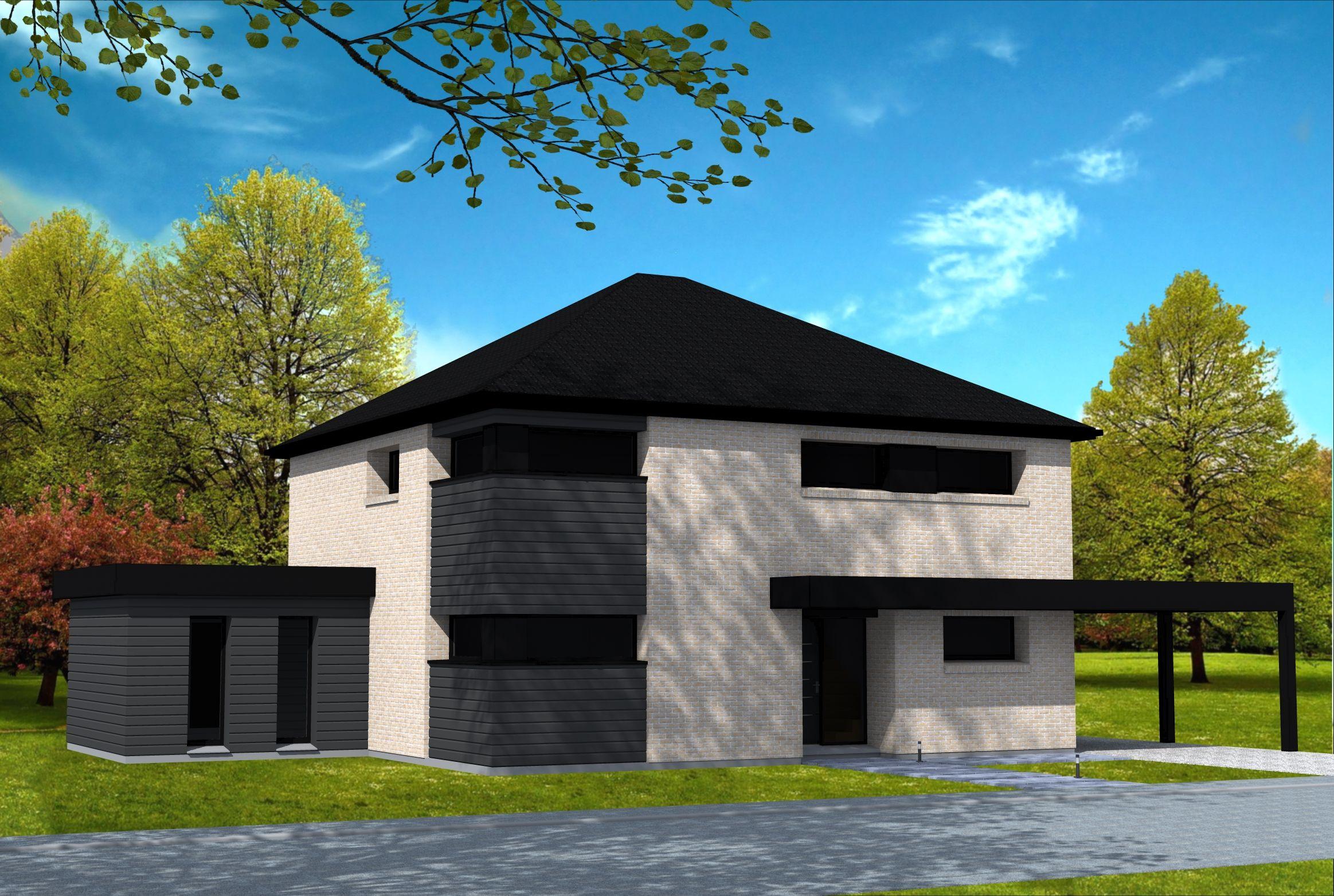 Maison moderne type cubique avec toit à 4 pans, briques avec parties ...