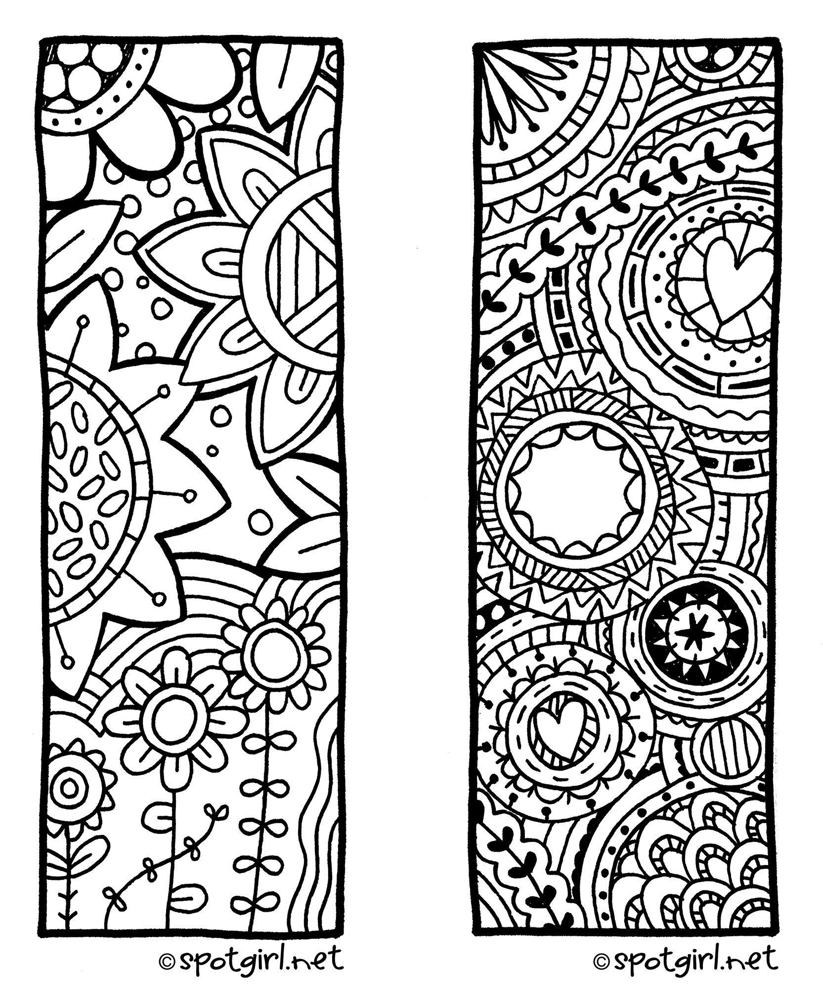 Valentine bookmark to color - Zentangle Bookmark Printable From Spotgirl Hotcakes Blogspot Com