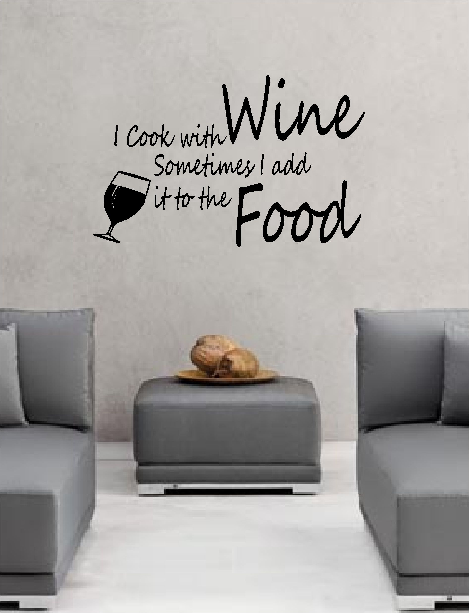 I COOK WITH WINE wall art vinyl lounge kitchen QUOTE