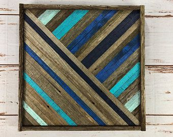 Shades Of Blue. Reclaimed Wood Wall Art. Ombre Style. Home Decor. Reclaimed Wood. Barnwood Art. Wood Mosaic Art #reclaimedwoodwallart