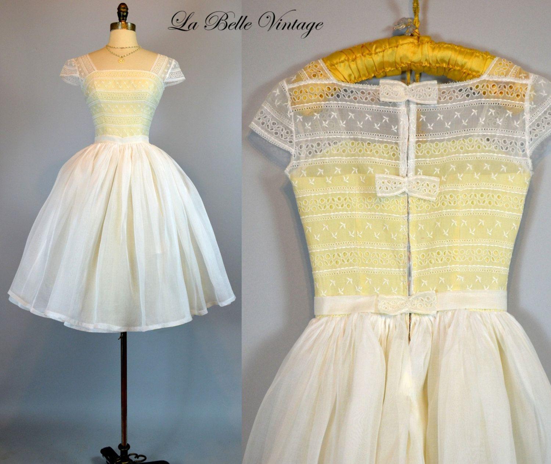 60s lace wedding dress  The Audrey Wedding Dress  Vintage s Illusion Lace Sheer Dress XS