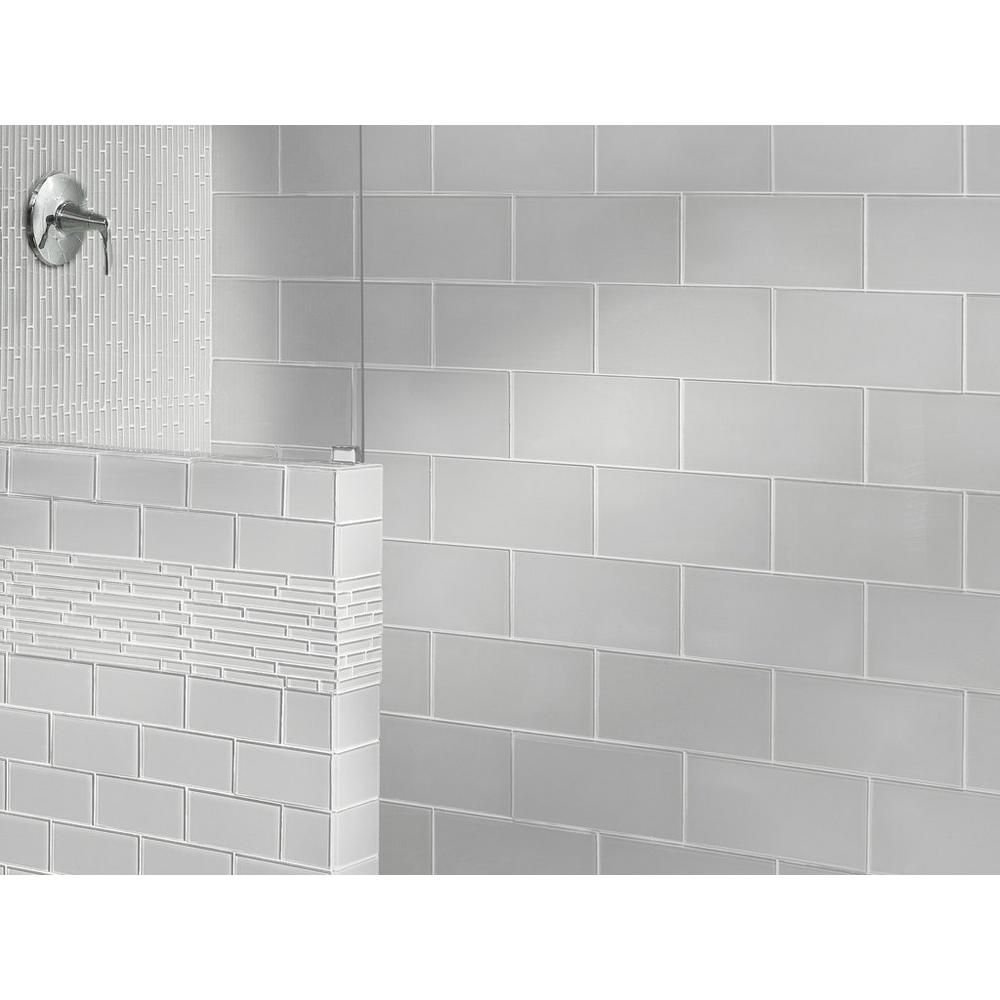Pure Snow White Shiny Glass Tile - 6in. x 12in. - 913102099   Floor ...