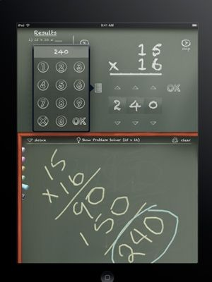 MathBoard for ages 7-11.  Cost is $5 from iTunes.  Via...10 best math apps from Today's Parent