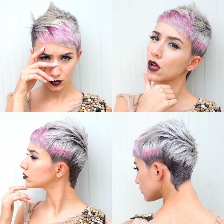 Iro Fur Frauen Kurzhaarschnitt Modern Grau Pink Pastell Frisuren
