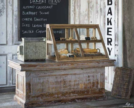 Vintage Distressed Wood Store Counter Cabinet Display