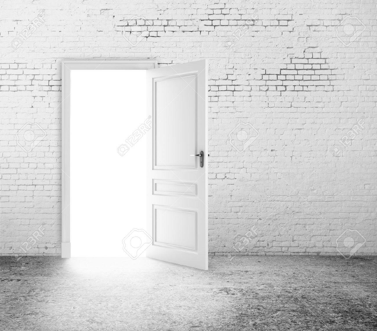 Open Door In White Brick Wall White Brick Walls White Brick Brick Wall