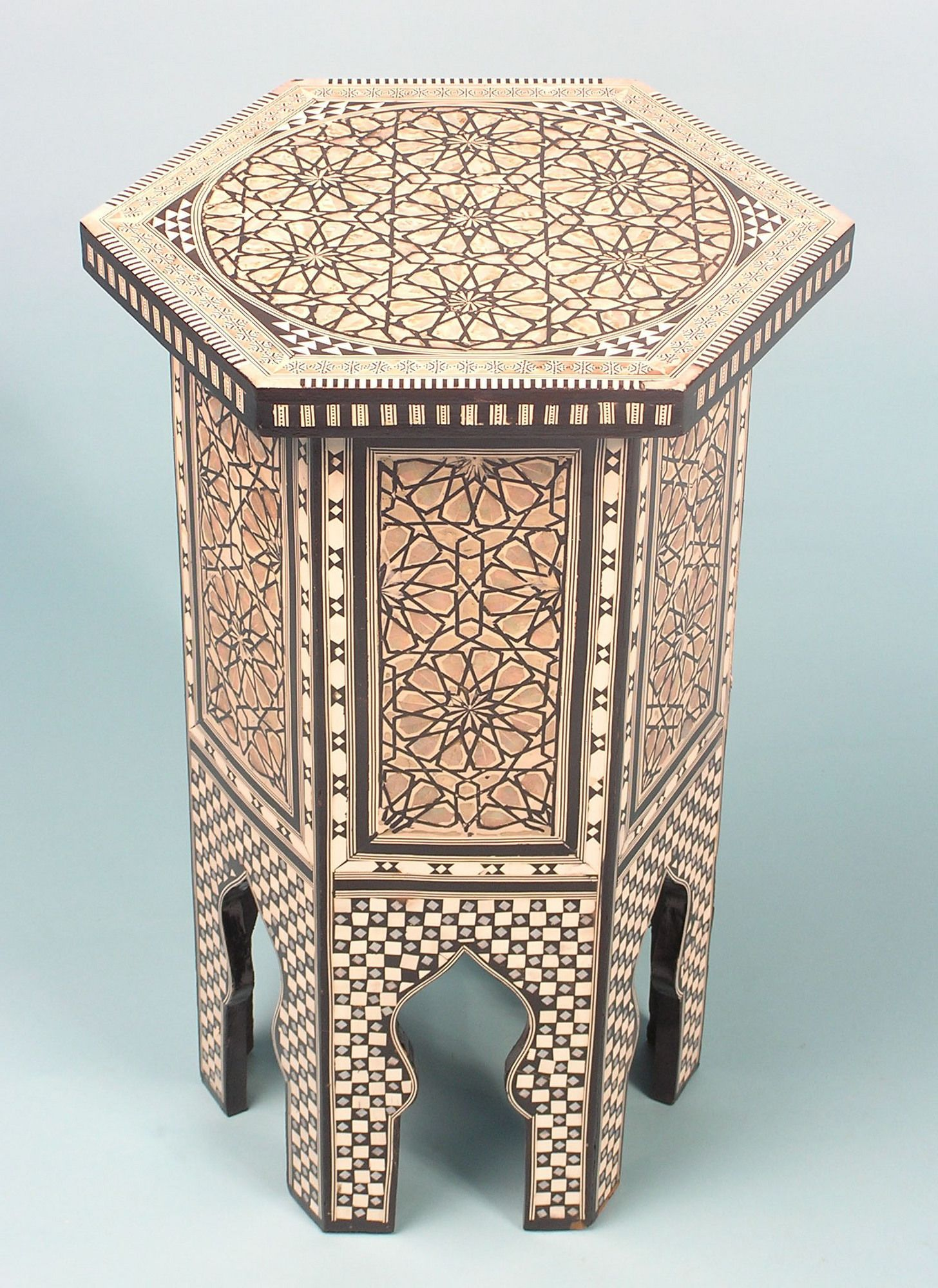 Hexagonal Table With Mother Of Pearl Table Salon Marocain