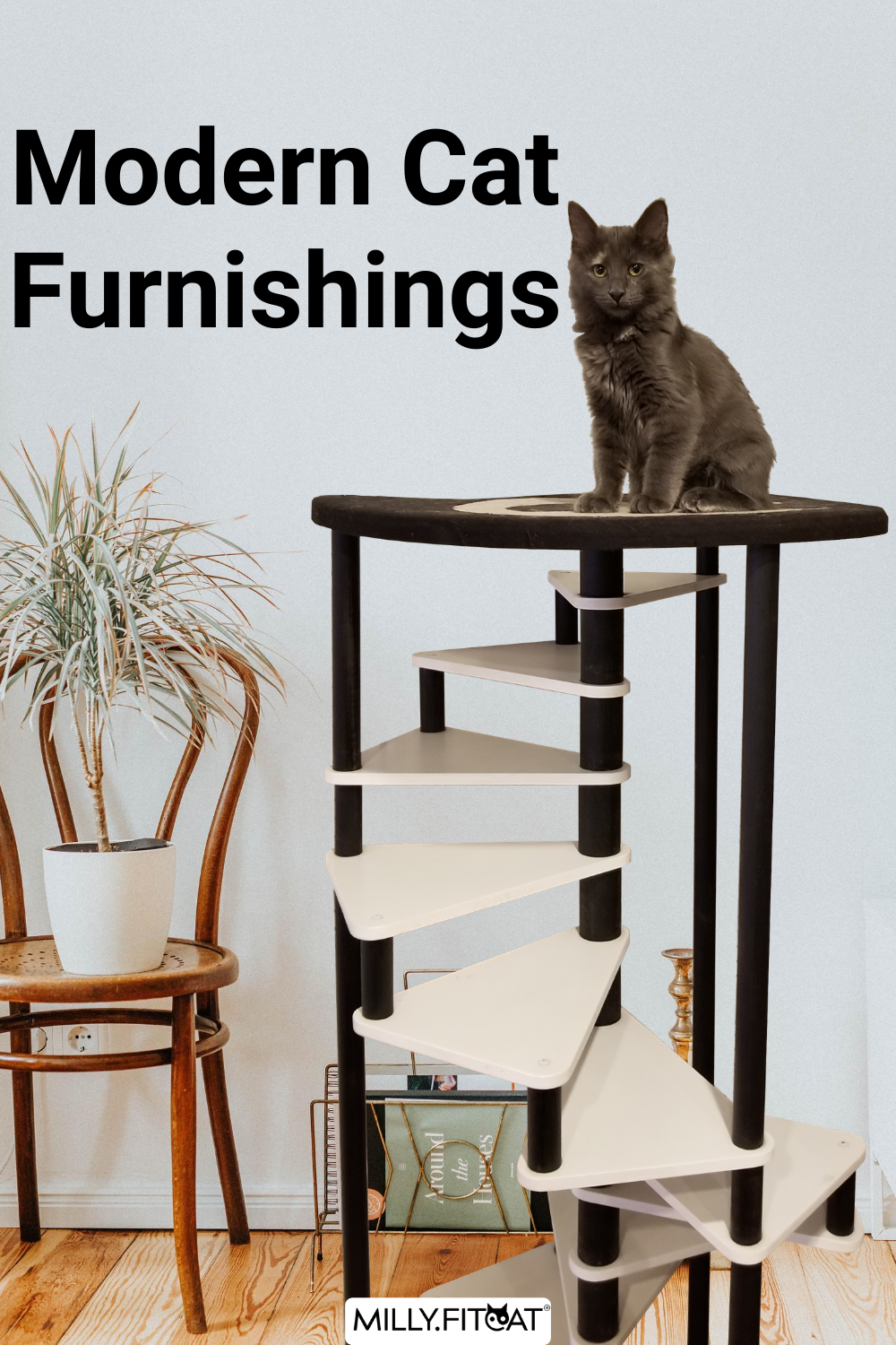 Cat Tree 12 Step Spiral Cat Furniture Best Cat Stairs 2021 Cat Ladder With Pet Bed On Top Modern Cat Tree Cat Furniture Modern Cat Furniture
