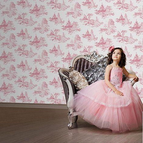 Disney Pink Disney Princess Toile Wallpaper At Debenhams