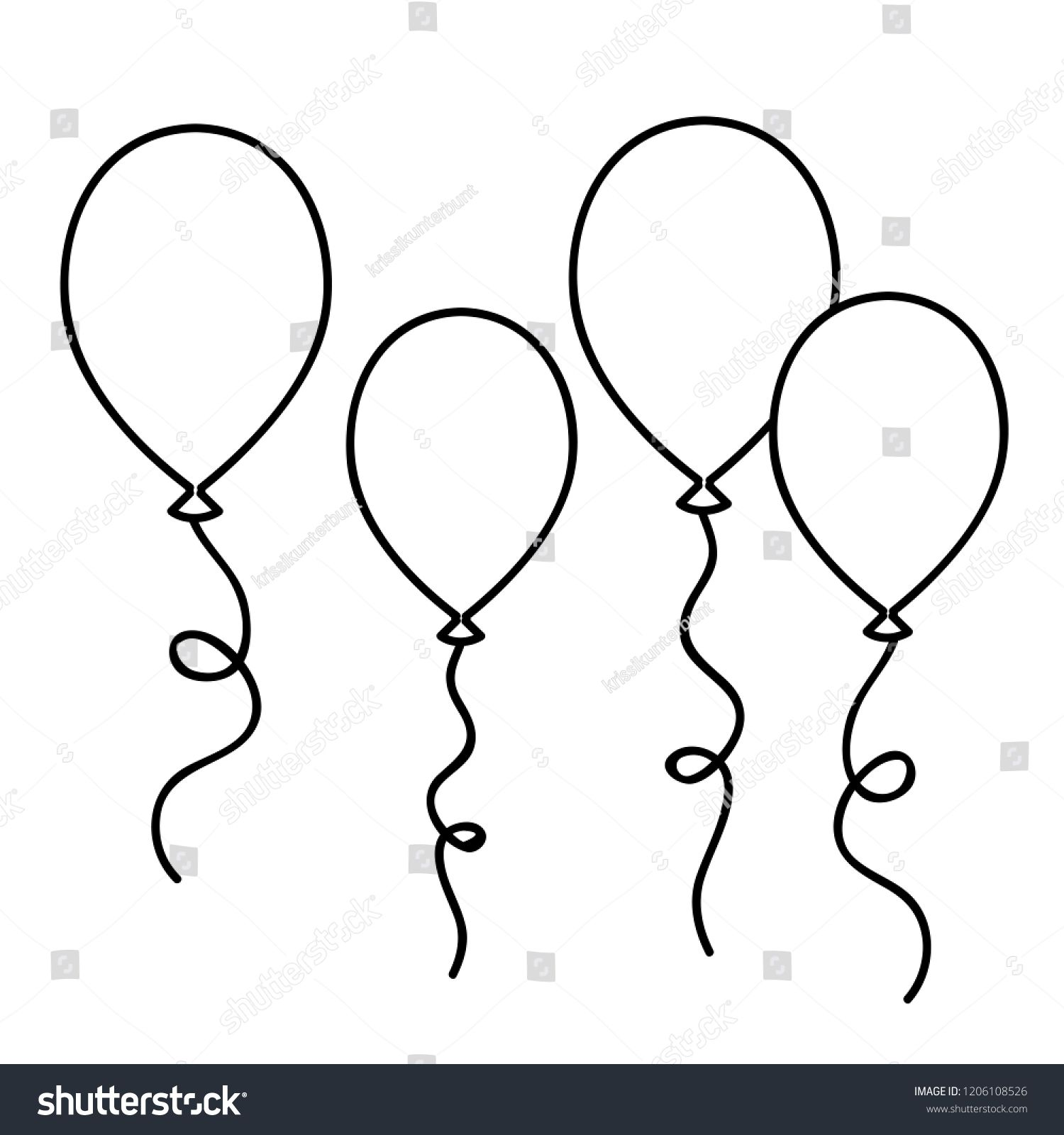 Balloons Simple Drawing Outline For Coloring Book Vector