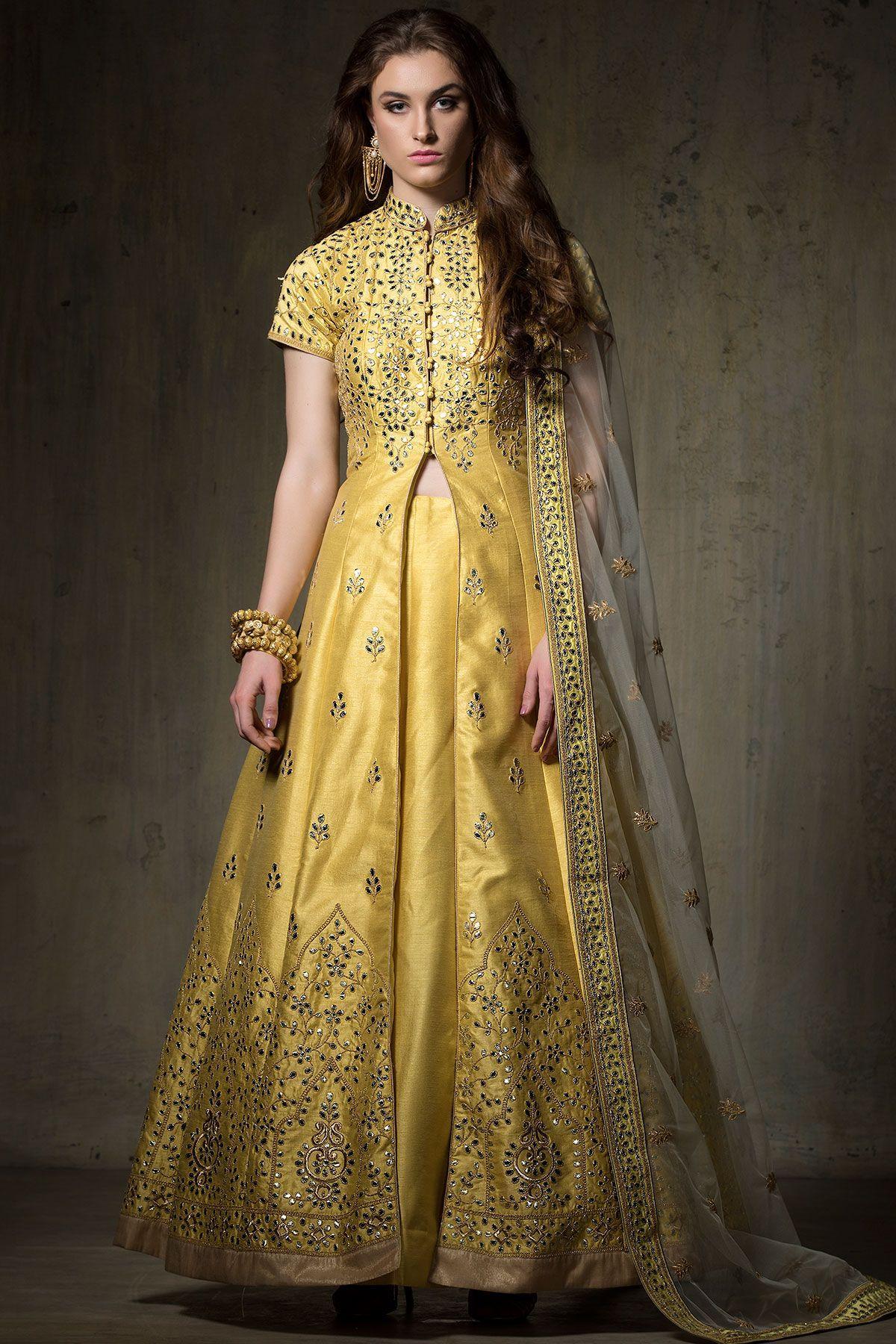 02587c5fb84 Buy Yellow Zari Embroidered Raw Silk Jacket Lehenga Online