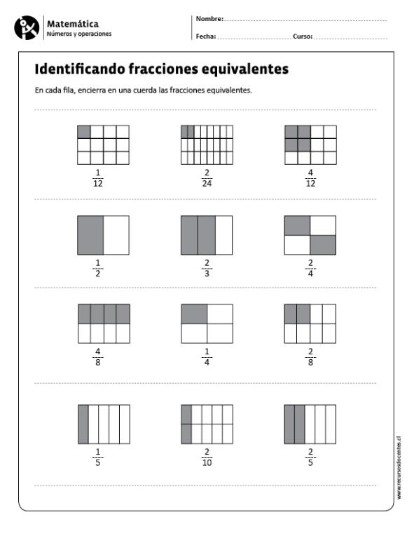 Identificando Fracciones Equivalentes Matematicas Fracciones Fracciones Matematicas