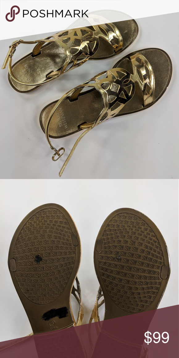 7df3b68fc8d3 Stuart Weitzman Gelfisher Gold Sandal Size 8 Stuart Weitzman Gold Sandal  Size 8 Only signs of