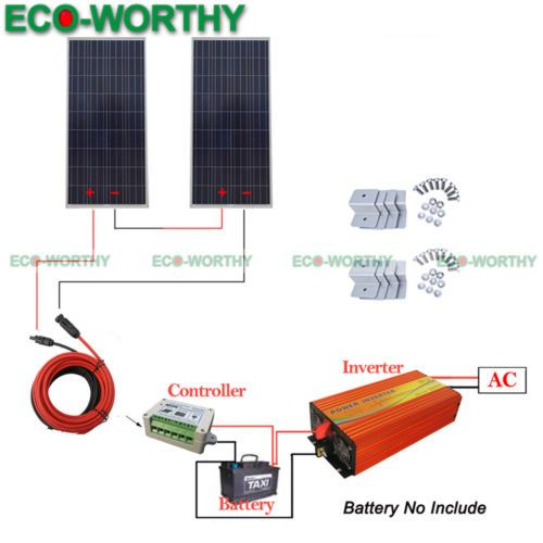 320w Off Grid Solar System 2pcs 160w Solar Panel W Inverter For Camper Caravan Homesolarsystem Solar Heating Solar Solar Panels