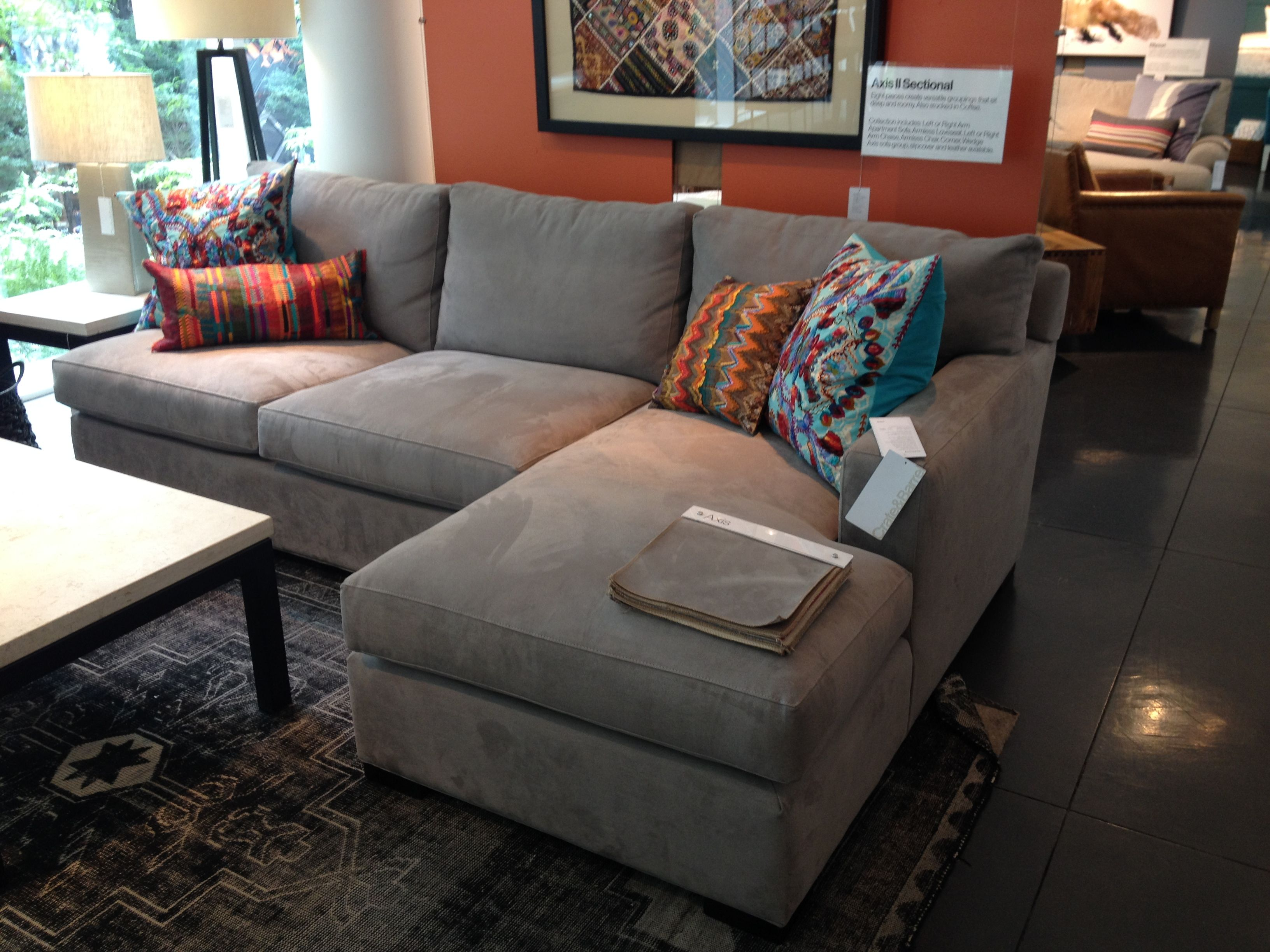 Crate Barrel Axis Sectional Family Room 3 Piece Sectional