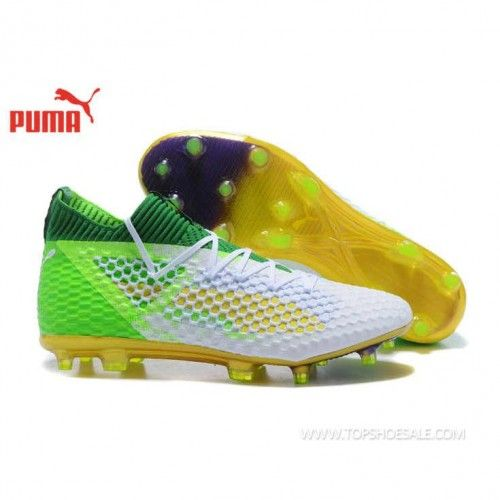 2018 FIFA World Cup Puma Future 18.1 Netfit Low hyFG 104313-01 Green Gecko  Puma White Grey Violet Football shoes 9fe7ee8a69c21