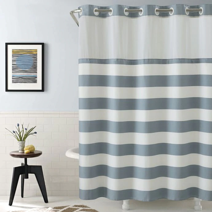 Hookless Cabana Stripe Shower Curtain In Blue Bed Bath Beyond Shower Curtain Hookless Shower Curtain Striped Shower Curtains Red Bathroom Decor