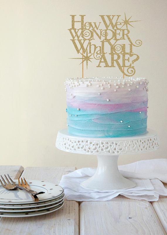 Gender Reveal Taart Topper Taart Topper Taart Topper Baby Lavender Cake Mermaid Cakes Berry Wedding Cake