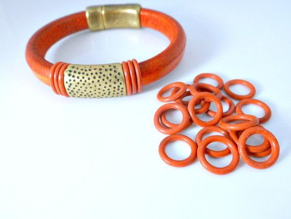12mm Rubber O Rings Burnt Orange 10 Pieces For 10mm X 6mm Licorice Leather Cord Bracelet Or Ne Leather Jewelry Supplies Leather Cord Bracelets Leather Jewelry
