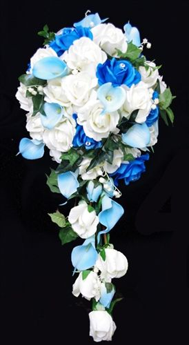 Real Touch Turquoise Roses Aqua Aruba Callas And Off White Roses