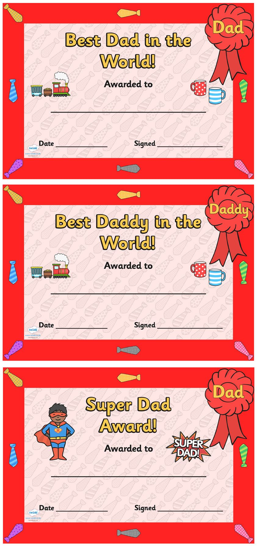 Father's Day Certificates Pop over to our site at www