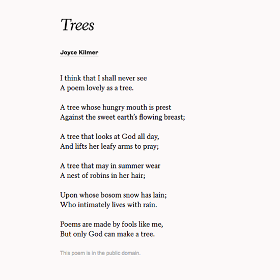 Trees By Joyce Kilmer Poetry For Kids Poems Literary Quotes Most tree poems ever written. poetry for kids poems literary quotes