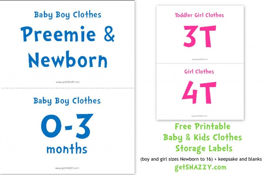 Baby Clothes Size Signs For Storage Or Garage Sale Getsnazzy Kids