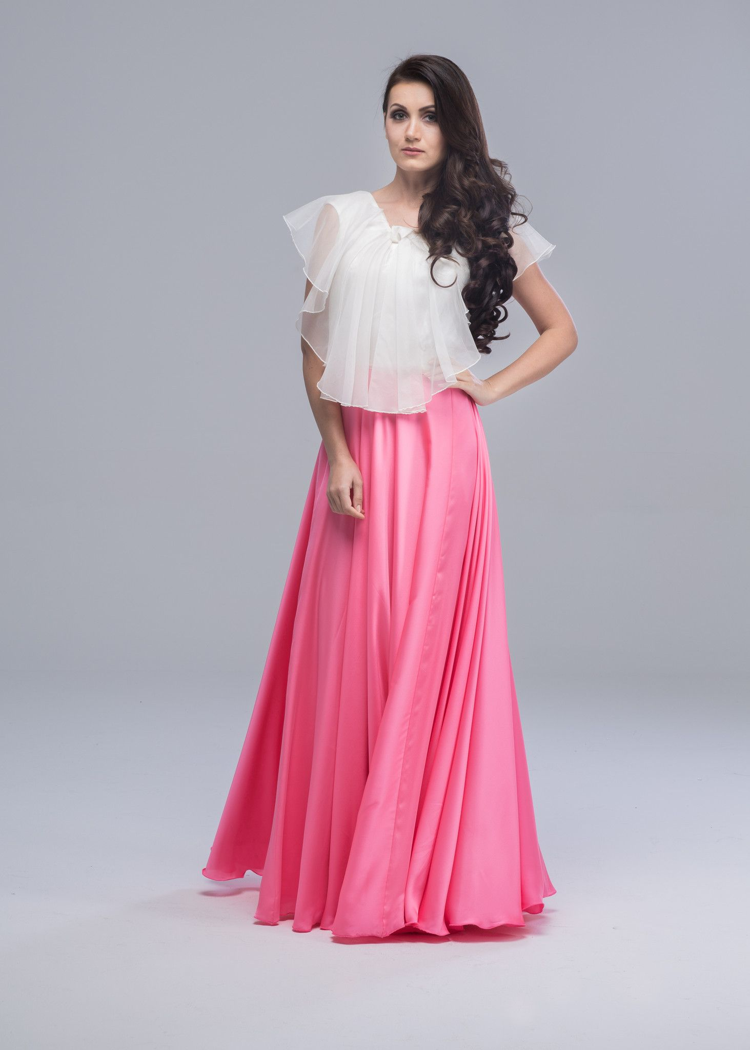 Short-Silk Dress with Organza-Body (Onion Pink) from the Neetu Store ...