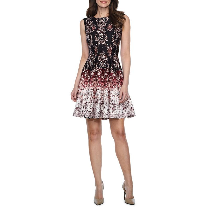 Danny Amp Nicole Sleeveless Scroll Fit Amp Flare Dress Petites