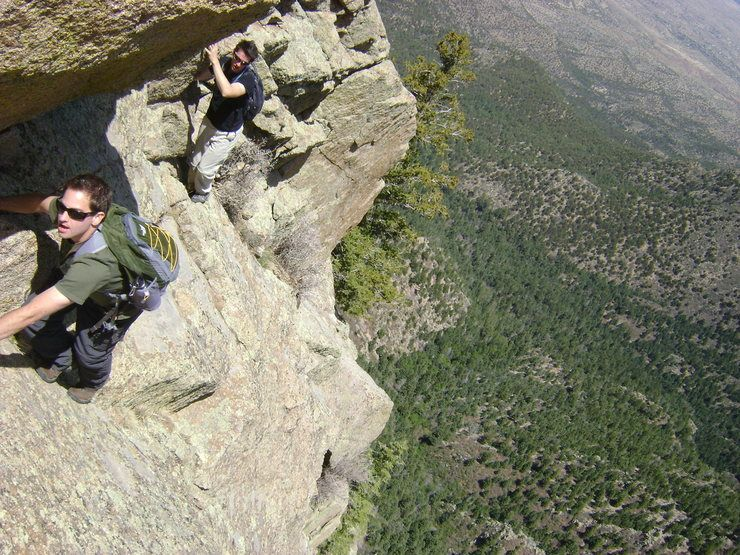 """The crux on the Knife Edge of the Shield - the first downclimb of the """"W"""""""