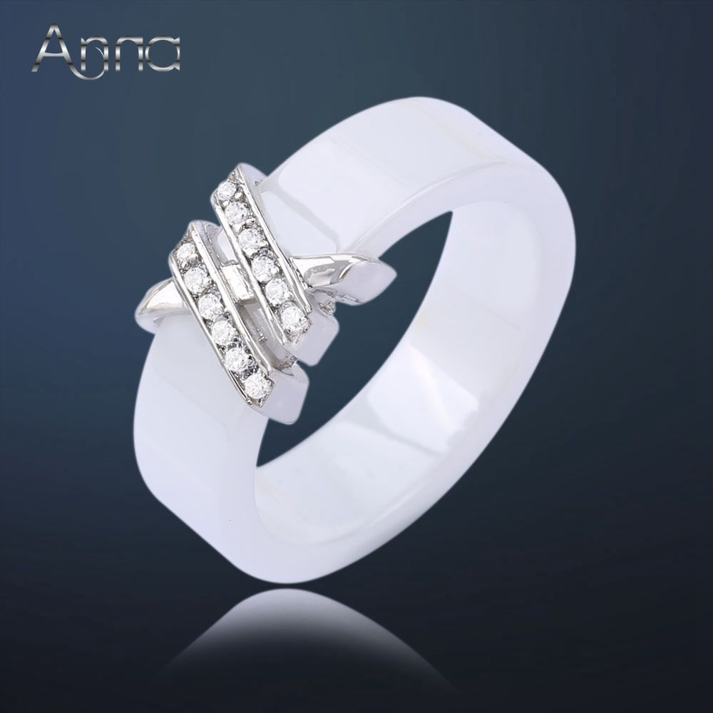 A N Antique Women S Ceramic Ring Jewelry With Zircon Crystal Stone Steel Fashion Black White